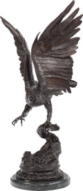 Fine Art - Sculpture, European:Antique (Pre 1900), After Jules Moigniez (French, 19th Century). Eagle TakingFlight. Bronze with brown patina. 31 inches (78.7 cm) high on...