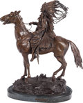 Sculpture, Carl Kauba (Austrian, 1865-1922). Indian Chief. Bronze with brown patina. 25 inches (63.5 cm) high on a 1-3/4 inches (4....