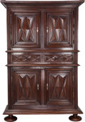 Furniture : Continental, A Continental Walnut Armoire, 18th century. 92-1/2 inches high x 64 inches wide x 28-1/2 inches deep (235.0 x 162.6 x 72.4 c...