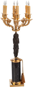 Decorative Arts, French:Lamps & Lighting, An Egyptian Revival-Style Patinated and Gilt Bronze Six-LightTorchère, 20th century. 36 inches high (91.4 cm). PROPERTY F...