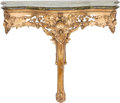 Furniture , A French Carved Giltwood Console with Faux Marble Top, circa 1900. 36-3/4 inches high x 45-1/2 inches wide x 20-1/2 inches d...