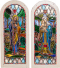 Ceramics & Porcelain, American:Modern  (1900 1949)  , A Pair of Lamb Studios Stained Glass Windows, circa 1930. 51 incheshigh x 21-3/4 inches wide (129.5 x 55.2 cm). ... (Total: 2 Items)