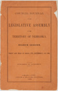 Books:Americana & American History, [Americana]. Council Journal of the Legislative Assembly of theTerritory of Nebraska. Eighth Session. Begun and Held at...