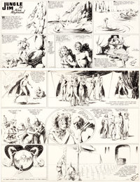 Alex Raymond Flash Gordon and Jungle Jim Sunday Comic Strip Original Art dated 1-27-35 (King Features ... (Total: 2 Orig...