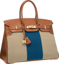 Hermes Limited Edition 35cm Natural Barenia, Toile & Blue Canvas Flag Birkin Bag with Permabrass Hardware Excel...