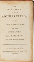 Books:Religion & Theology, Sir Peter King. The History of the Apostles Creed. Elizabethtown: John Woods, 1804....