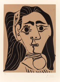 Fine Art - Work on Paper:Print, Pablo Picasso (Spanish, 1881-1973). Femme aux cheveux flous,1962. Linocut in colors on Arches paper. 13-5/8 x 10-1/2 in...