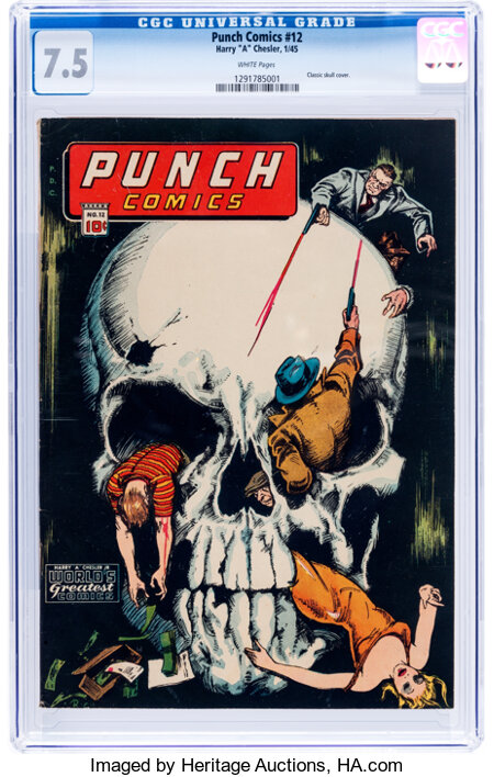 Punch Comics #12 (Chesler, 1945) CGC VF- 7.5 White pages....