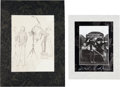 Music Memorabilia:Autographs and Signed Items, Beatles - Klaus Voormann Original Drawing and Astrid KirchherrSigned Beatles Photograph, Both in Matted Displays. ...