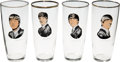 Music Memorabilia:Memorabilia, A Set of Four Beatles Drinking Glasses, (Holland,1964.)...