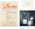 Music Memorabilia:Memorabilia, A Group of Star-Club Items Featuring Pete Best (Germany, 1964)....