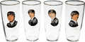 Music Memorabilia:Memorabilia, A Set of Four Beatles Drinking Glasses With Misprints (Holland, 1964.)...