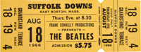 An Unused Concert Ticket For The Beatles at Suffolk Downs, Boston (US, 1966)
