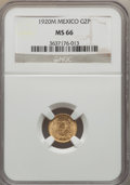 Mexico, Mexico: Republic gold 2 Pesos 1920-M MS66 NGC,...