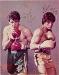 Movie/TV Memorabilia:Autographs and Signed Items, A Sylvester Stallone and Gerry Cooney Signed Color Photograph,1982....