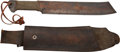 "Movie/TV Memorabilia:Props, ""Rambo"" Gil Hibben Unmarked Machete with Leather Scabbard...."