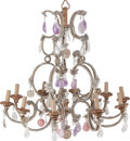 Decorative Arts, Continental:Lamps & Lighting, A Rock Crystal, Amethyst, and Rose Quartz Ten-Light Chandelier,late 20th century. 33 inches high x 32 inches wide (83.8 x 8...