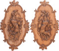 Decorative Arts, Continental:Other , A Pair of Black Forest Carved Wall Plaques, 19th century. 20 incheshigh x 33 inches wide (50.8 x 83.8 cm). ... (Total: 2 Items)