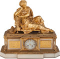 Decorative Arts, French:Other , A Carrier Louis-Philippe Gilt Bronze and White Onyx Figural MantleClock, 19th century. Marks: A CARRIER FECIT. 19-1/2 i...