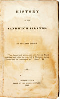 Books:Americana & American History, Sheldon Dibble. History of the Sandwich Islands.Lahainaluna: Press of the Mission Seminary, 1843....