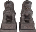 Asian:Chinese, A Pair of Large Chinese Patinated Bronze Imperial Lions, 19thcentury. 21 inches high x 11-1/2 inches wide x 18 inches deep ...(Total: 2 Items)
