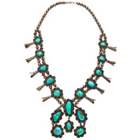 Turquoise, Sterling Silver Squash Blossom Necklace