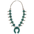 Estate Jewelry:Necklaces, Turquoise, Sterling Silver Squash Blossom Necklace. ...