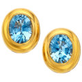 Estate Jewelry:Earrings, Blue Topaz, Gold Earrings, Tambetti. ...