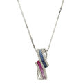 Estate Jewelry:Necklaces, Ruby, Sapphire, Diamond, White Gold Necklace. ...