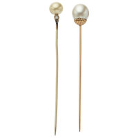 Cultured Pearl, Diamond, Gold Stickpins