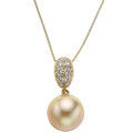 Estate Jewelry:Necklaces, Diamond, Cultured Pearl, Gold Necklace. ...