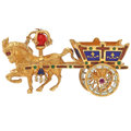 Estate Jewelry:Brooches - Pins, Ruby, Sapphire, Carnelian, Enamel, Gold Brooch . ...