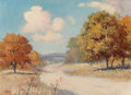 Texas:Early Texas Art - Regionalists, Robert William Wood (American, 1889-1979). Country Road in theFall. Oil on canvas. 12 x 16 inches (30.5 x 40.6 cm). Sig...