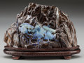 Asian:Chinese, A Chinese Carved Boulder Opal in Ironstone Matrix with Carved Woodand Silver Inlay Stand. 6 x 8-1/2 x 3-1/4 inches (15.2 x ...