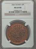Azores, Azores: Portuguese Colony - Luiz 20 Reis 1866 MS64 Red and Brown NGC,...