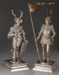 Silver Holloware, Continental, A Pair of Ludwig Neresheimer Silver and Ivory Teutonic Knights,Hanau, Germany, circa 1900. Marks: (crescent), (crown), 80...(Total: 2 Items)