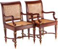 Furniture , A Pair of Baltic-Style Hardwood, Bronze and Copper Inlaid Armchairs, 19th century. 38 inches high x 21 inches wide x 20 inch... (Total: 2 Items)