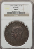 German States:Nassau, German States: Nassau. Adolf 2 Taler 1860 VF30 NGC,...