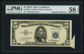 Error Notes:Attached Tabs, Fr. 1656* $5 1953A Silver Certificate Star. PMG Choice About Unc 58EPQ.. ...