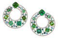Estate Jewelry:Earrings, Diamond, Tourmaline, Aquamarine, White Gold Earrings, Cicada. ...