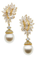 Estate Jewelry:Earrings, Diamond, South Sea Cultured Pearl, Gold Earrings, Adler. ...