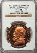 German States:Bavaria, German States: Bavaria. Ludwig III copper Proof Pattern 5 Mark 1913PR65 Red NGC,...