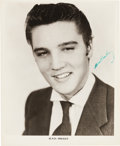 Music Memorabilia:Autographs and Signed Items, Elvis Presley Signed Black And White Photo (1955)....