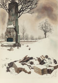 Fine Art - Work on Paper:Watercolor, Louis Lozowick (American, 1892-1973). After the Fire (Snow After a Fire), circa 1940. Watercolor and pencil on paper. 13...