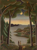 Fine Art - Painting, American:Contemporary   (1950 to present)  , Thomas McKnight (American, b. 1941). Meeting his Muse.Casein on canvas. 40 x 30 inches (101.6 x 76.2 cm). Signed lower...
