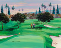 Fine Art - Painting, American:Contemporary   (1950 to present)  , Brent Hayes (American, 20th Century). The Golfing Couple,1990. Acrylic on board. 23 x 28-3/4 inches (58.4 x 73.0 cm). S...