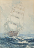 Works on Paper, Thomas Sidney Moran (American, Late 19th Century). Sailing Ship on the High Seas, 1904. Watercolor on paper. 14-1/4 x 10...