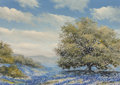 Fine Art - Painting, American:Contemporary   (1950 to present)  , William A. Slaughter (American, 1923-2003). Oak Tree andBluebonnets. Oil on canvasboard. 6 x 12 inches (15.2 x 30.5cm)...