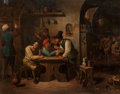 Fine Art - Painting, European:Antique  (Pre 1900), After David Teniers II (19th Century). Tavern Scene. Oil oncanvas. 14 x 18 inches (35.6 x 45.7 cm). ...