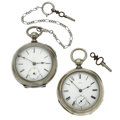 Timepieces:Pocket (pre 1900) , Great Eastern Watch Co. & Waltham 18 Size Pocket WatchesRunners. ... (Total: 2 Items)